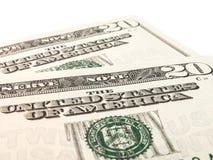 Dos notas de 20 dólares de EE. UU. Foto de archivo libre de regalías