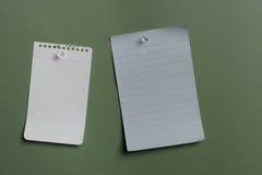 Dos notas en blanco pined Fotografía de archivo