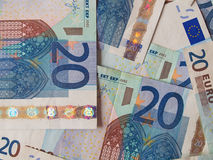 Dos notas euro con la reflexión Imagen de archivo