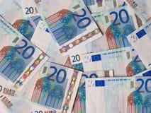 Dos notas euro con la reflexión Imágenes de archivo libres de regalías
