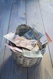 Dos notas euro con la reflexión Fotografía de archivo libre de regalías