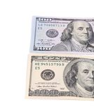 Dos notas sobre cientos dólares Imagen de archivo