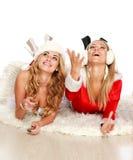 Dos novias bonitas en alineadas de la Navidad Foto de archivo