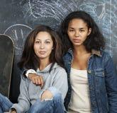 Dos novias del mulato adolescentes en la sala de clase que abraza en la pizarra, de nuevo a concepto de la escuela Foto de archivo libre de regalías