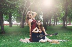 Dos novias elegantes elegantes del boho feliz con la guitarra, comida campestre Imagen de archivo