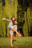 Dos novias felices Imágenes de archivo libres de regalías