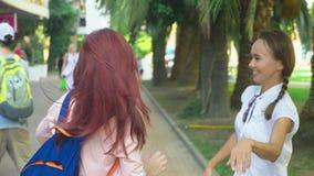 Dos novias, muchachas hermosas jovenes, bailando en el parque las muchachas bailan y saltan, caminando a lo largo de la ciudad de almacen de video