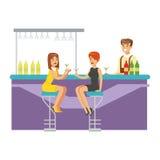 Dos novias que beben los cócteles en la barra, parte de gente en la serie del club de noche de ejemplos del vector Fotografía de archivo libre de regalías