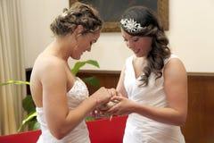 Dos novias que consiguen los anillos casados del intercambio imagen de archivo