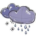 Dos nubes con los copos de nieve y las gotas de lluvia Fotos de archivo libres de regalías