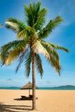 Dos ociosos solos en la playa abandonada de la isla de Hainan fotos de archivo