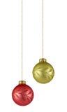 Dos ornamentos de la Navidad Fotos de archivo libres de regalías
