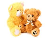 Dos osos de peluche del juguete aislados en el fondo blanco foto de archivo libre de regalías