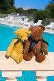 Dos osos del juguete en amor en la piscina fotografía de archivo