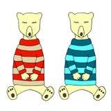 Dos osos lindos el dormir en pijamas Ejemplo del vector para el po Imagen de archivo
