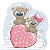 Dos osos se están sentando en un corazón libre illustration