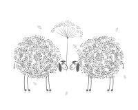 Dos ovejas divertidas, bosquejo para su diseño Imagen de archivo libre de regalías