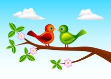 Dos pájaros ilustración del vector