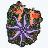 Dos pájaros anaranjados con la flor exótica Imagenes de archivo