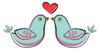 Dos pájaros azules stock de ilustración