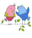 Dos pájaros brillantes stock de ilustración