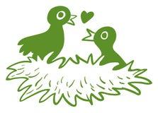 Dos pájaros del amor en su jerarquía Imagen de archivo