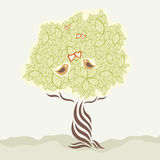 Dos pájaros del amor y árbol estilizado Fotos de archivo libres de regalías
