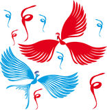 Dos pájaros. Ilustraciones Imagen de archivo