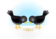 Dos pájaros negros stock de ilustración