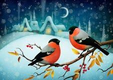 Dos pájaros rojos ilustración del vector