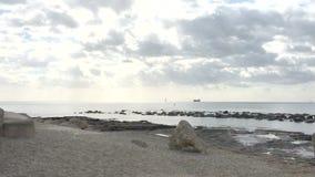 Dos pájaros vuelan apagado a la derecha sobre la playa arenosa almacen de metraje de vídeo