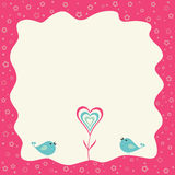 Dos pájaros y corazones florecen en un marco retro Fotografía de archivo
