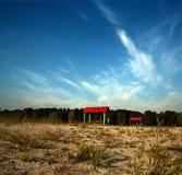 Dos pabellones rojos. Imagen de archivo libre de regalías