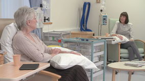 Dos pacientes femeninos que tienen tratamiento de quimioterapia almacen de metraje de vídeo