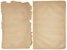 Dos paginaciones en blanco lamentables con los bordes fragmentarios. Imagen de archivo libre de regalías