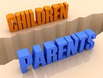 Dos palabras NIÑOS y PADRES partieron en los lados, grieta de la separación. Imágenes de archivo libres de regalías