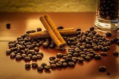 Dos palillos de canela en los granos de café Fotografía de archivo