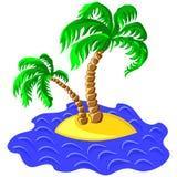 Dos palmeras en una isla en el océano Imagen de archivo libre de regalías