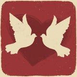 Dos palomas de los amantes. ilustración del vector