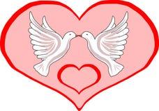 Dos palomas en corazón Fotografía de archivo