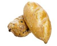 Dos panes de pan aislados en blanco Foto de archivo libre de regalías