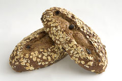 Dos panes de pan con la avena fotografía de archivo