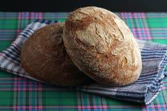 Dos panes de pan marrón del centeno Imágenes de archivo libres de regalías