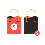 Dos panieres con la muestra de dólar Imagen de archivo libre de regalías