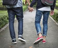 Dos pares do amor conceito alegre fora fotografia de stock
