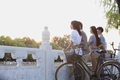 Dos pares por el lago HouHai con las bicicletas en Pekín Fotos de archivo
