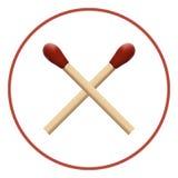 Dos partidos de madera con macro roja de la mecha Imágenes de archivo libres de regalías