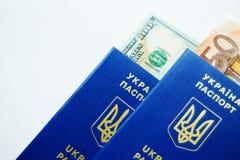 Dos pasaportes biométricos ucranianos con los euros y los dólares aislados en fondo ligero imágenes de archivo libres de regalías