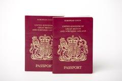 Dos pasaportes británicos Imágenes de archivo libres de regalías