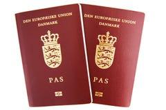 Dos pasaportes daneses Fotografía de archivo libre de regalías